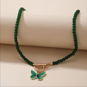 NEW Gold & Green Goddess Butterfly Bead Necklace